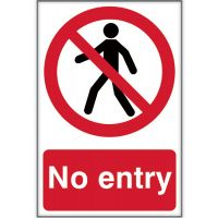 No Entry Sign 200 x 300mm Self Adhesive