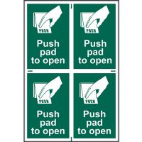 Push Pad To Open Sign 100 x 150mm (PK4) Self Adhesive