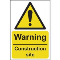 Warning Construction Site Sign 200 x 300mm Self Adhesive
