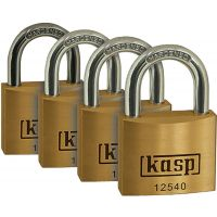 Kasp Keyed Alike Padlock Brass 40mm (PK 4)