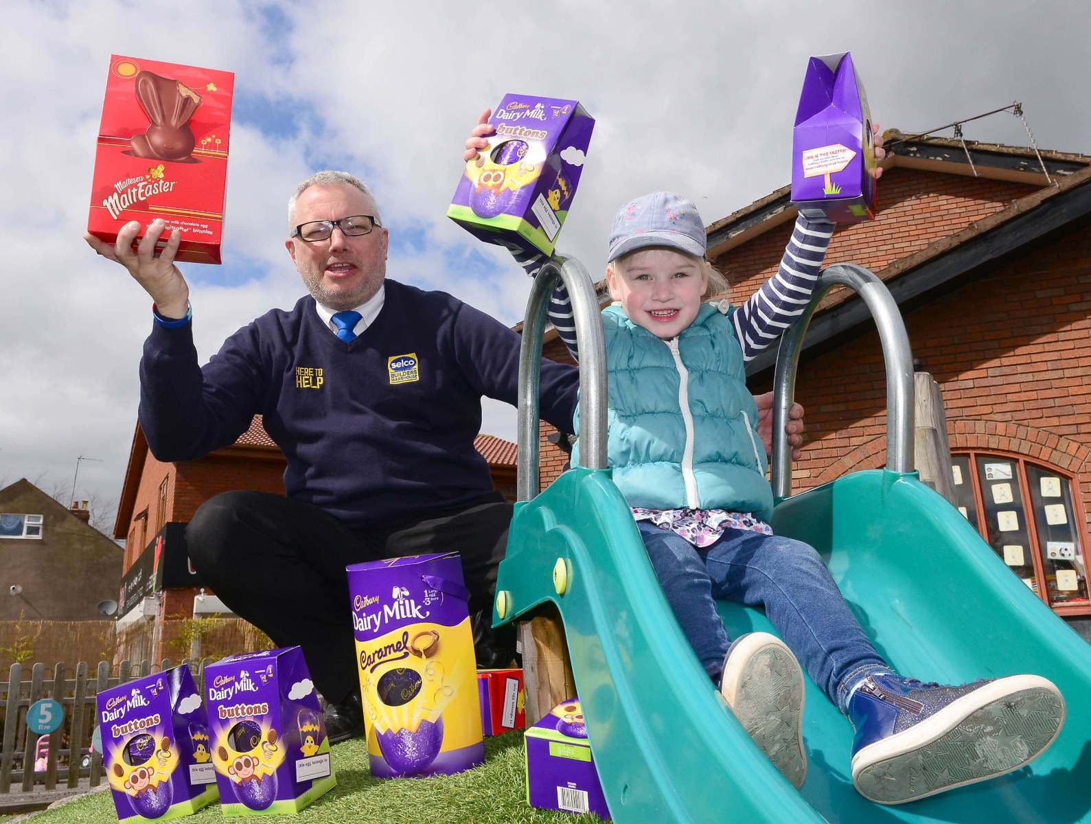 Selco donating Easter eggs to Tiddlywinks Nursery