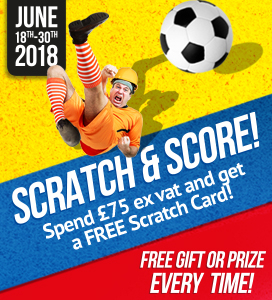 Spend £75 ex vat between 18-30th June & get a FREE Scratch Card!