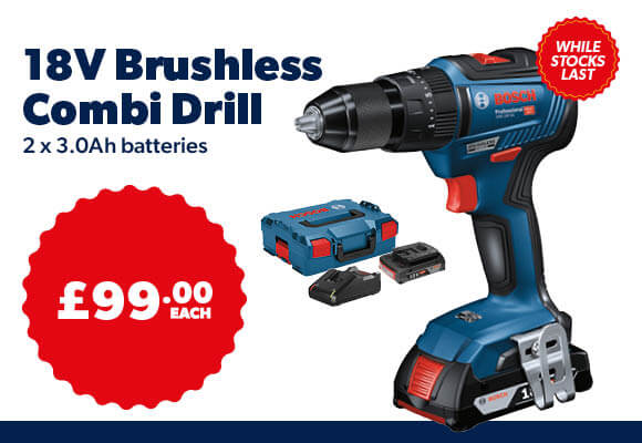 Bosch 18v Brushless Combi Drill With 2x3Ah Batteries