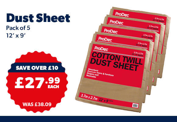 Cotton Twill Dust Sheets 3.6 x 2.7m (12' x 9') Pack 5